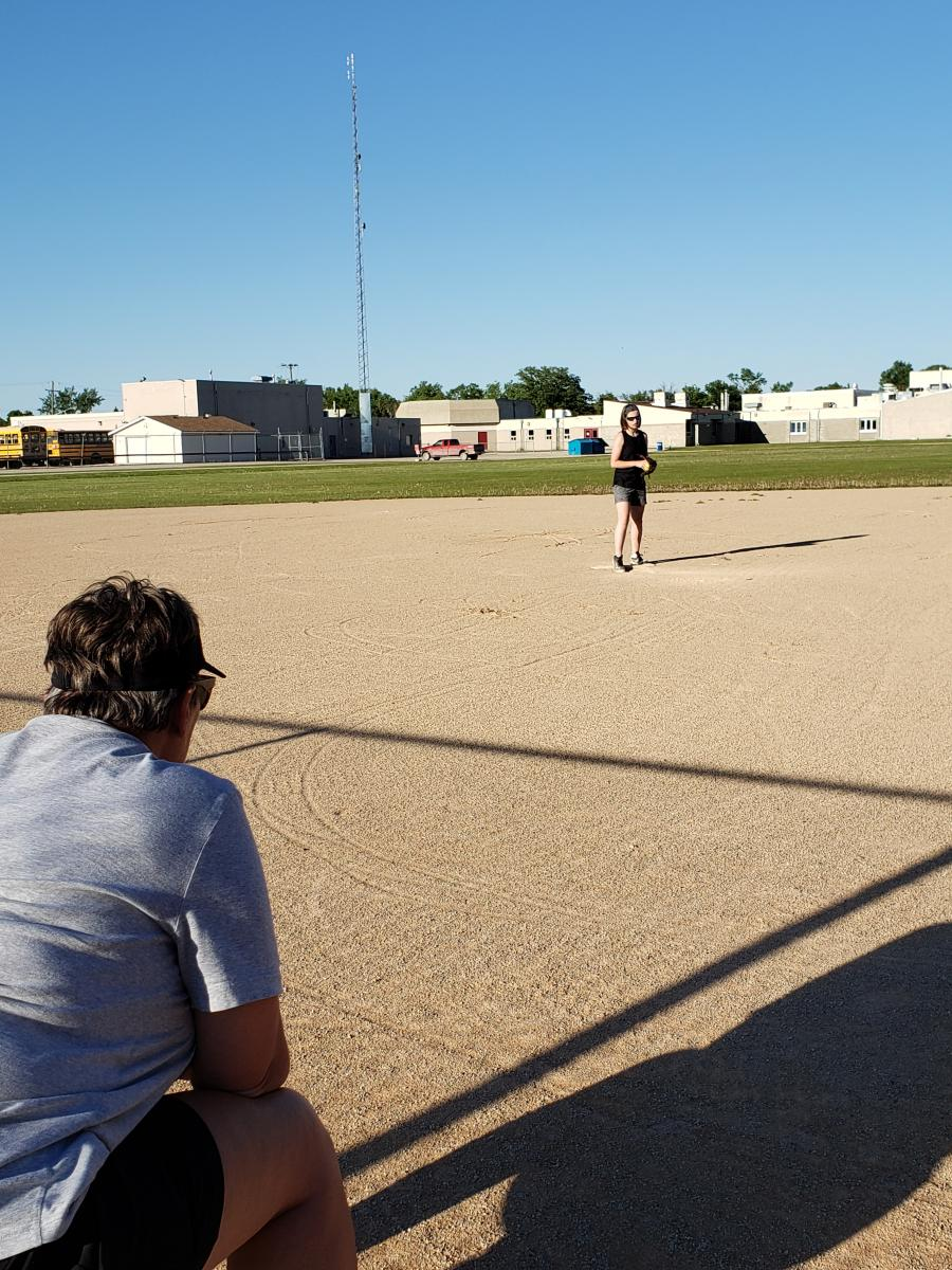 SMSA's resident pitching coach, Ruth Hiebert, giving instructions.